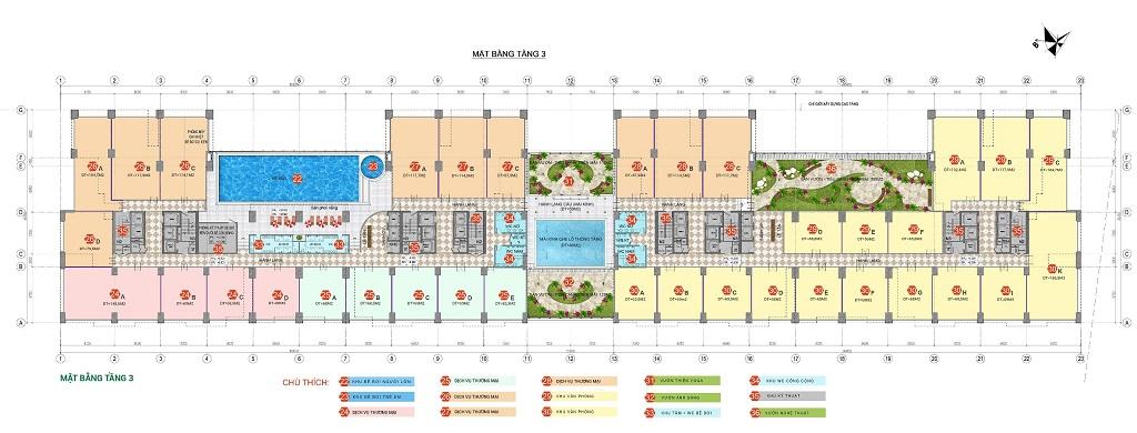 Mặt Bằng Sàn Thương Mại Chung Cư Phương Đông Green Park Tầng 3