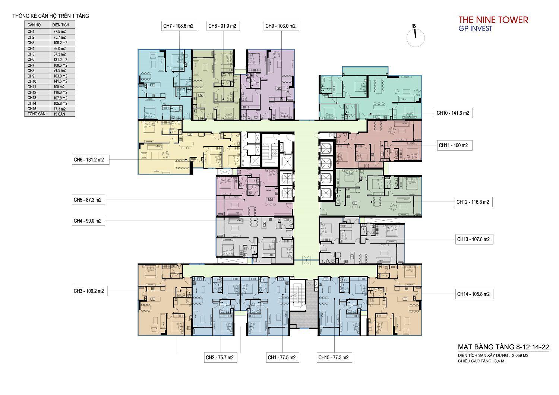 Mặt bằng chung cư The Nine Tower tầng 8 - 12 và 14 - 22