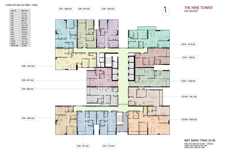 Mặt bằng chung cư The Nine Tower tầng 23 - 30