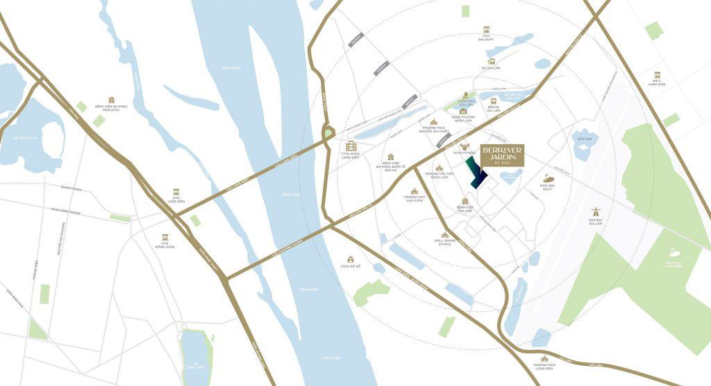 Vị trí dự án chung cư Berriver Jardin Long Biên