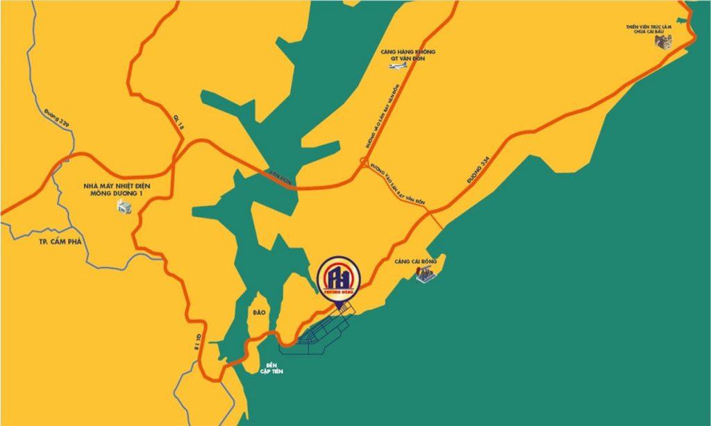 vị trí dự án wonder island phương đông