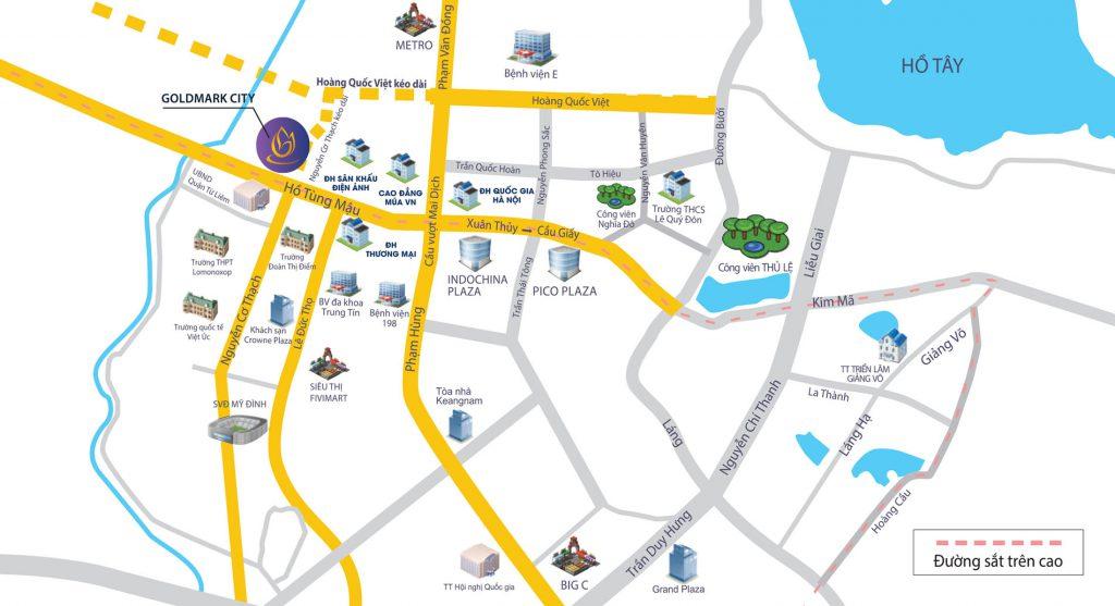 vị trí tòa diamond dự án tnr goldmark city