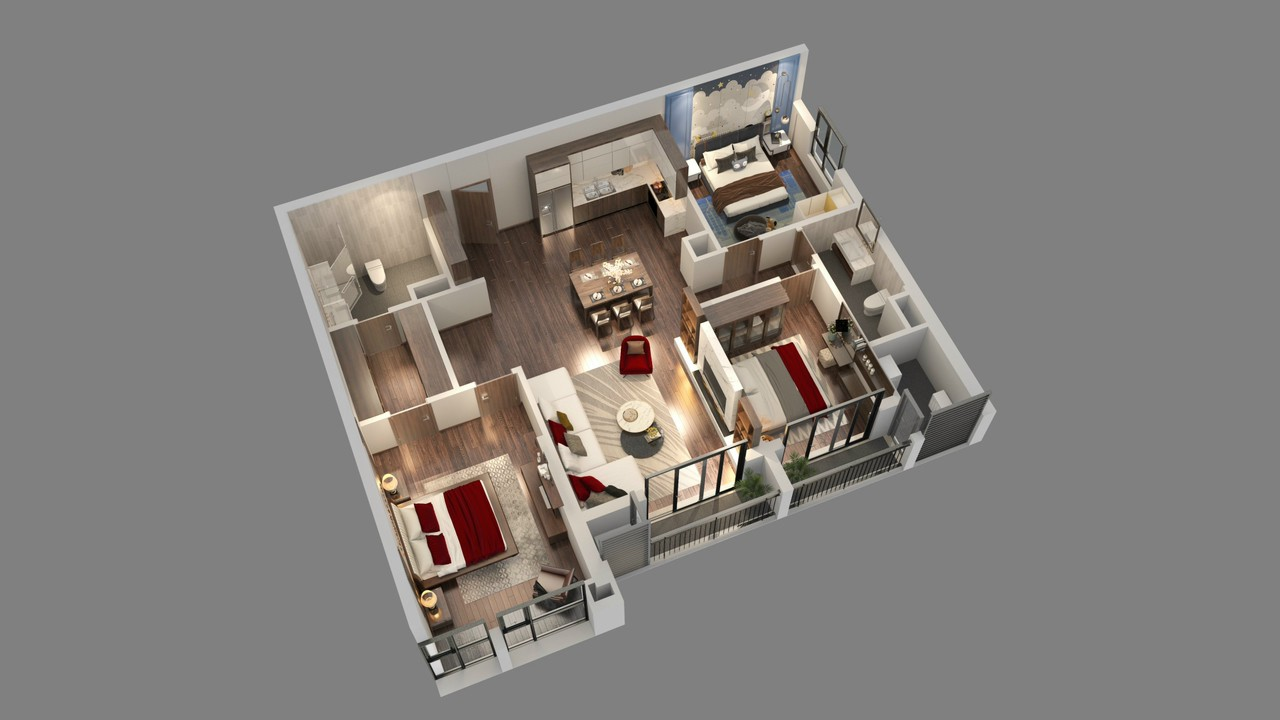 thiết kế chi tiết căn hộ tòa diamond