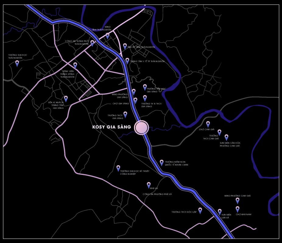vị trí dự án kosy city beat thái nguyên