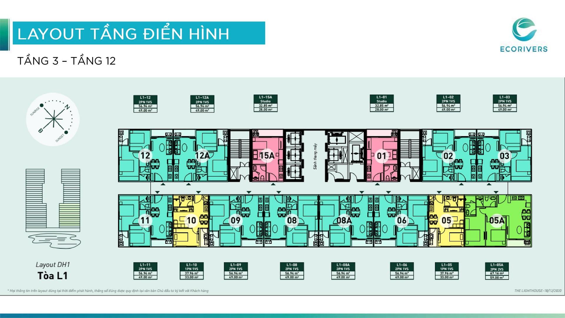 mặt bằng chung cư lighthouse ecorivers tầng 3-12