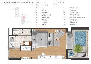 thiết kế căn hộ 1 ngủ có bể bơi