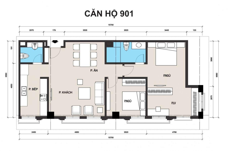 thiết kế chung cư t place căn 901