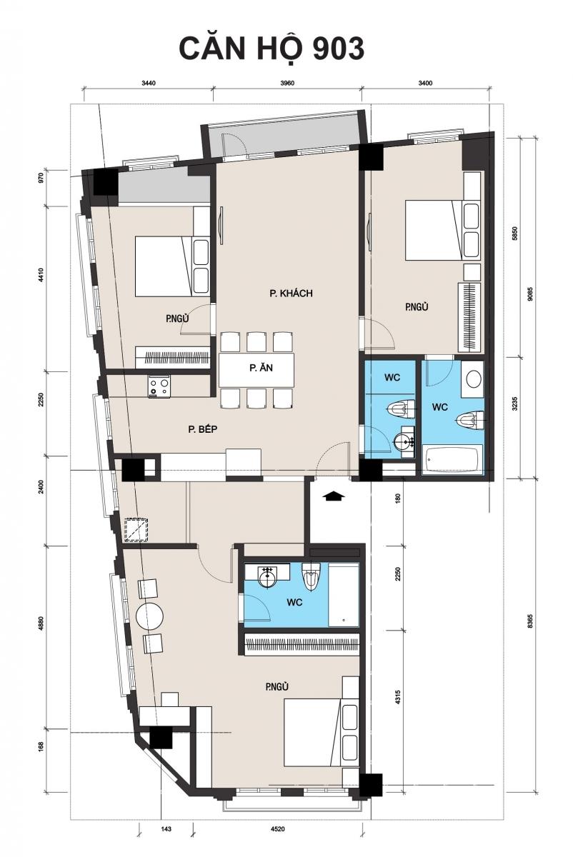 thiết kế chung cư t place căn 903