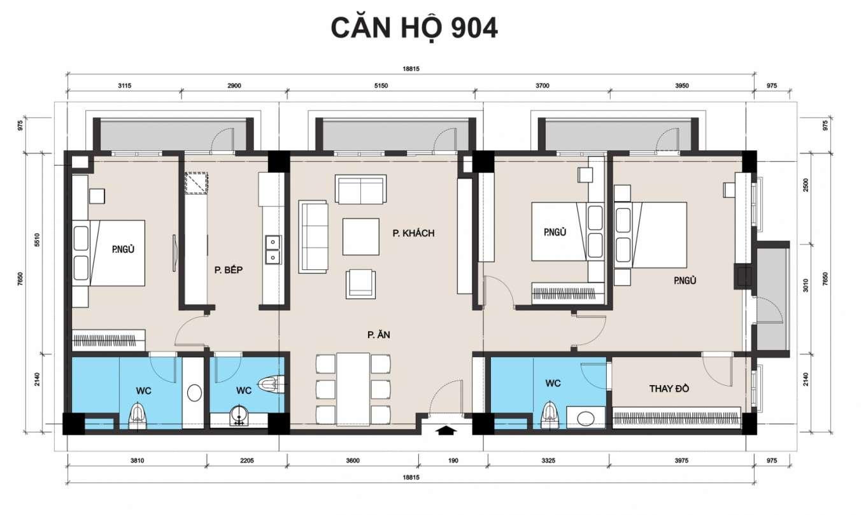 thiết kế chung cư t place căn 904