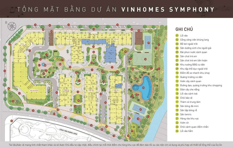 mặt bằng dự án vinhomes symphony