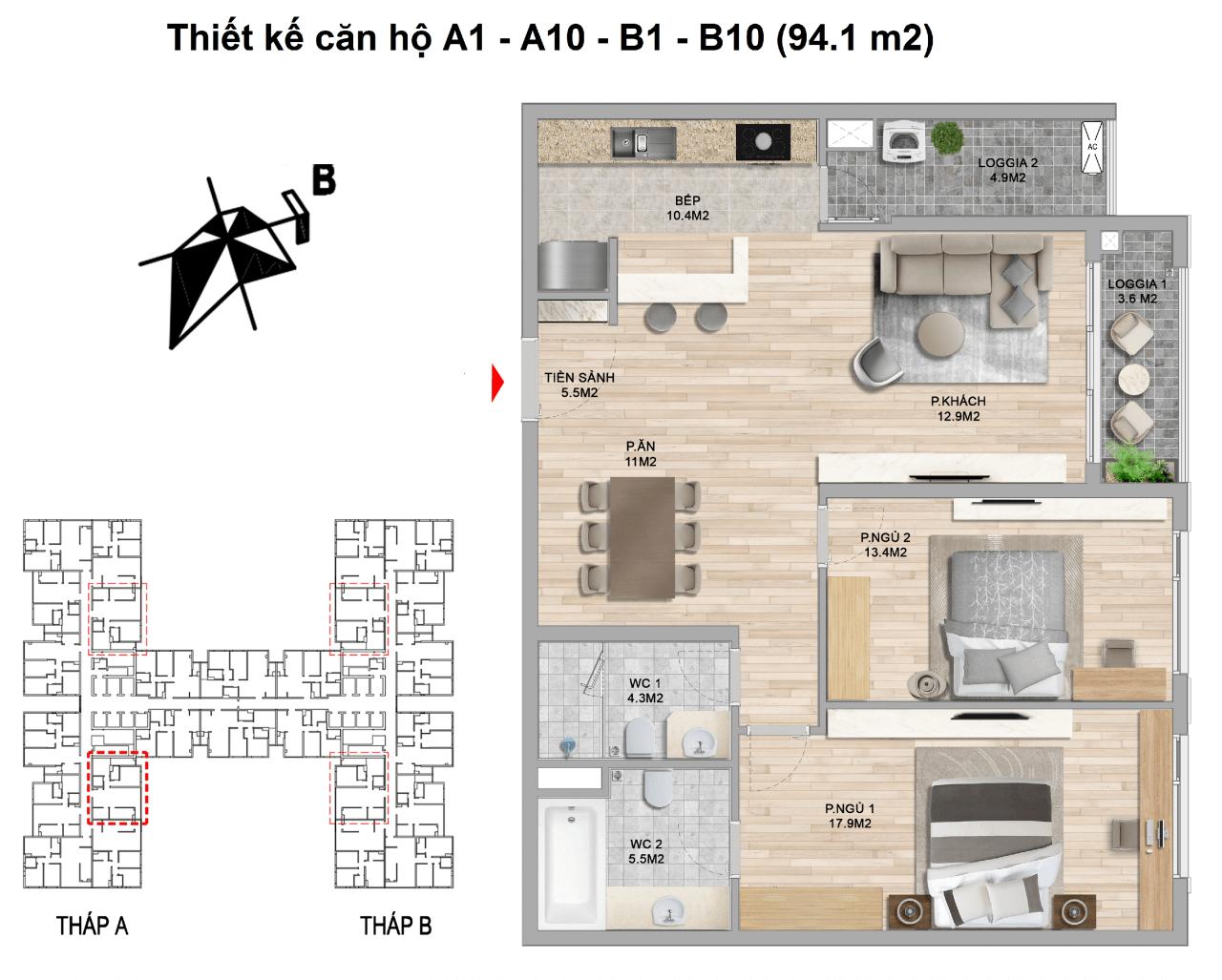 thiết kế căn hộ 2 ngủ 94.1 m2