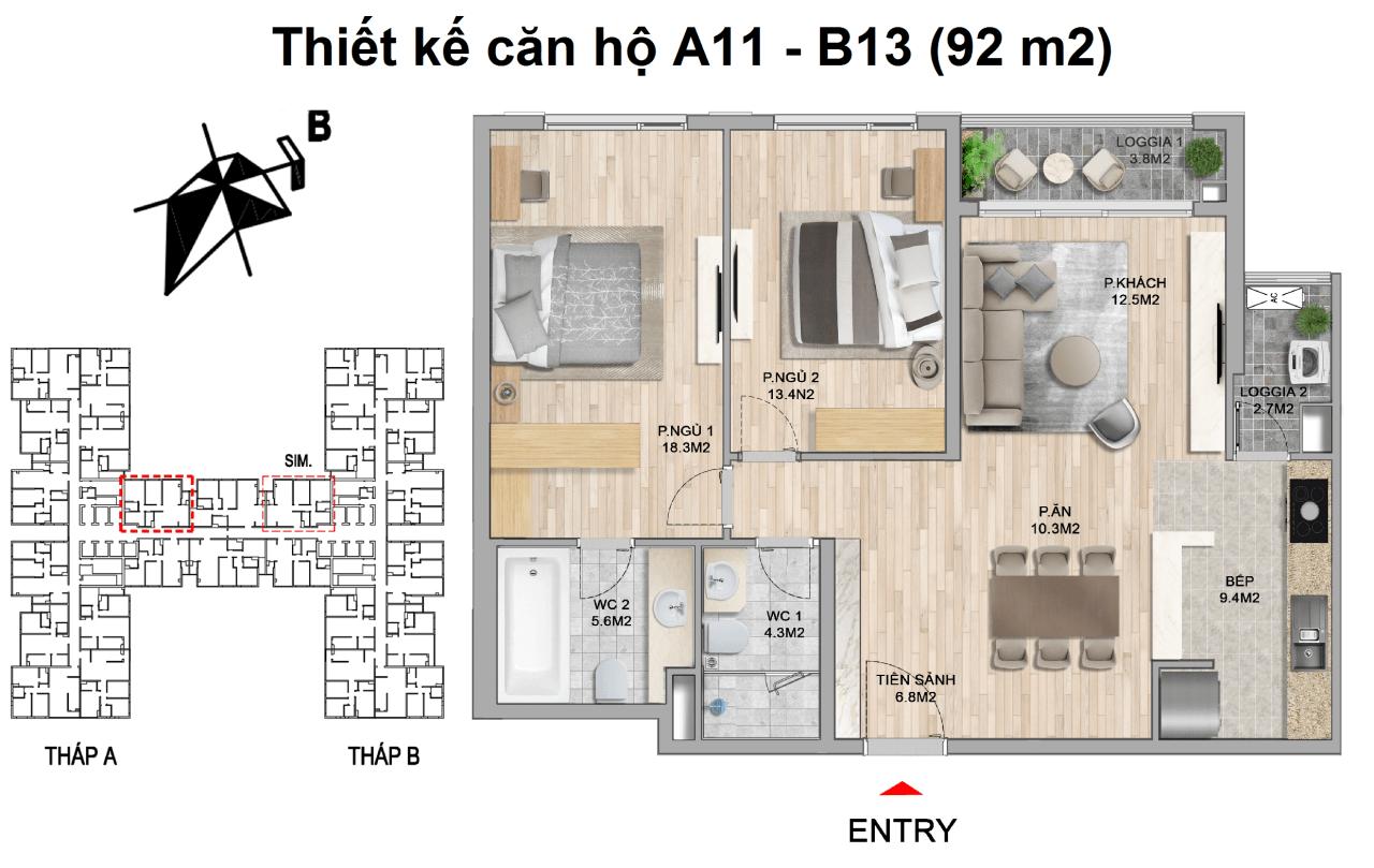 thiết kế căn hộ 2 ngủ 92 m2