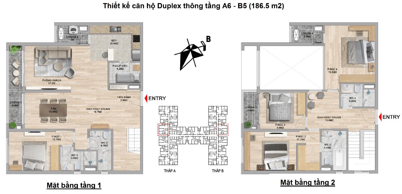 thiết kế căn hộ duplex